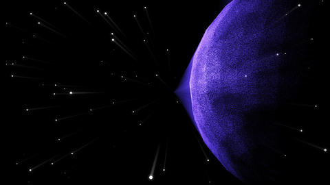Futuristic planet in the galaxy with stars Animation