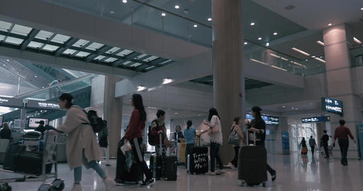 Timelapse of passenger traffic in airport of Seoul, South Korea Footage