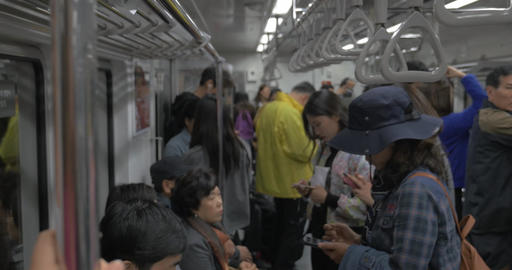 People traveling in subway. Seoul, South Korea Live Action