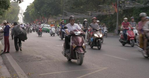 Motorbikes and cars traffic on Hanoi highway, Vietnam Footage