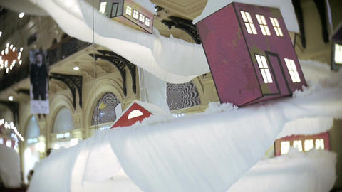 Toy house and road for New Year's and Christmas decorations in the malls, in the Footage