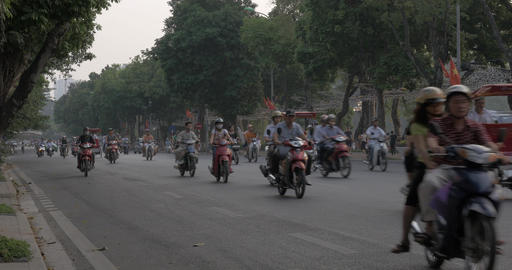 Highway with busy traffic in Hanoi, Vietnam Footage