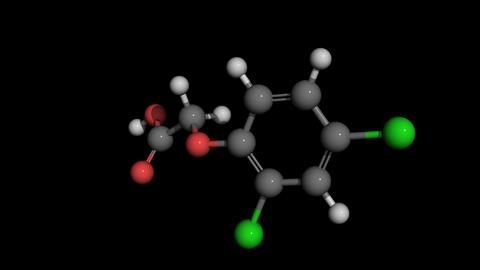 2,4-Dichlorophenoxyacetic acid agent orange molecule model rotating Animation