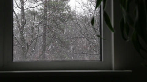 Snow Outside the Window 02 Footage