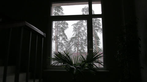 Snow Outside the Window Dolly Shot 01 Footage