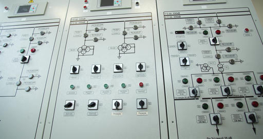 Close up of a control panel at the factory, control room, modern tech, 4k Live Action