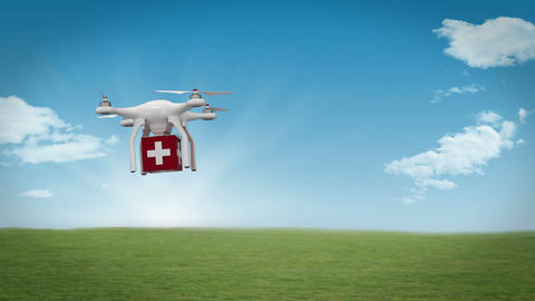 Digital image of drone is bringing a medicine box Animation