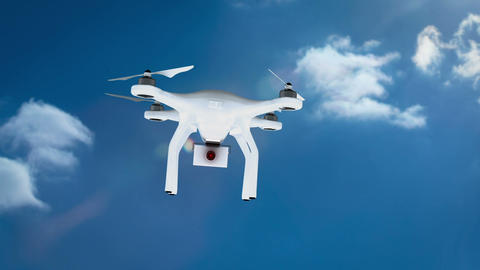 Digital image of drone holding a camera and smiling Animation