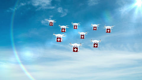 Digital image of drones holding medicine boxes and flying Animation
