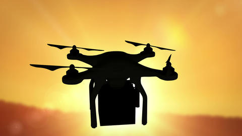 Digital image of silhouette drone holding a box CG動画