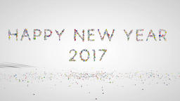 Happy New Year 2017 text, holiday element against white Animation