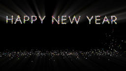 Happy New Year text, holiday element against black, light rays Animation