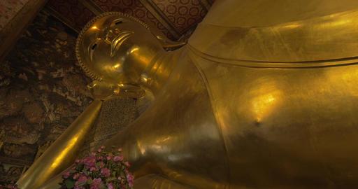 Wat Pho reclining Buddha, Thailand Footage