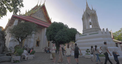 Tourists visiting Marble Temple in Bangkok, THAILAND Footage