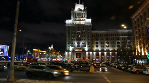 Russia, Moscow 11.12.2016. Evening street with cars next to the hotel Beijing Footage