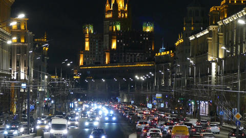 Russia, Moscow 11.12.2016. Evening street with cars in the city center Footage