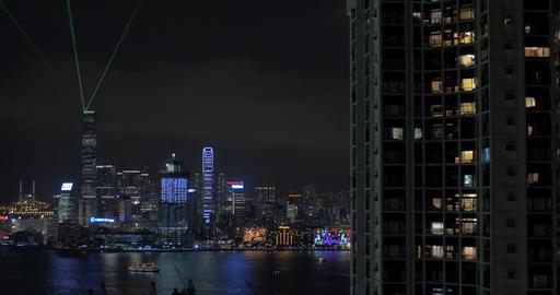 Illuminated downtown of Hong Kong at night Footage