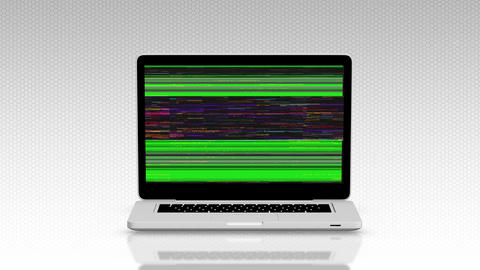 Modern laptop appearing from the side white background and green screen Animation