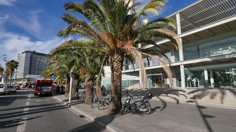 Hospital del Mar Facade in Barcelona Stock Video Footage