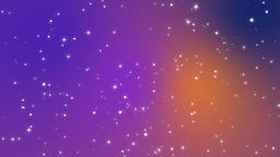 Sparkly light particles moving across a purple blue orange gradient background CG動画素材