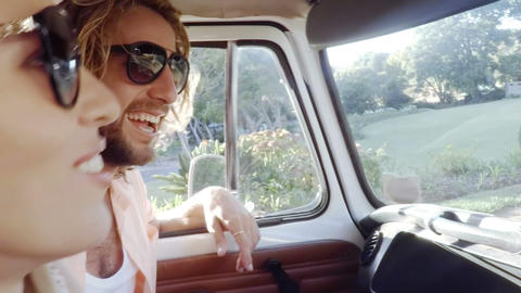 Hipster friends in camper van Footage