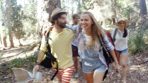 Young friends on a hike Footage