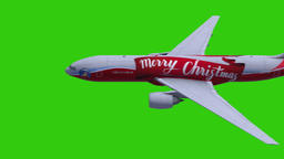 Airplane with Merry Christmas Text - Green Screen Animation
