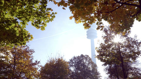 Autumn time TV tower and trees from below in Munich Olympia park Footage