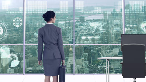 Businesswoman in office with futuristic city background Animation