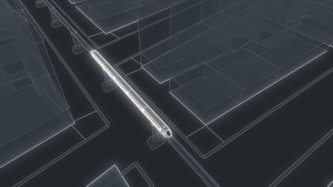 Cyber neon Train metro Modern Future technology concept Subway station Digital Animation