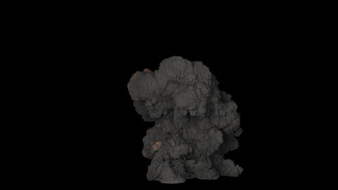 A powerful explosion with a lot of black smoke. A huge fire with thick black smoke. Fire with black Animation