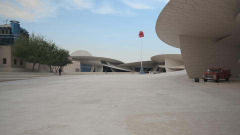 National museum of Qatar in Doha Qatar interior zooming in afternoon shot Live Action
