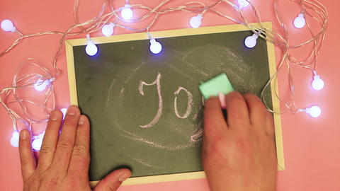 A man's hand erases joy on a black board and writes the end Live Action