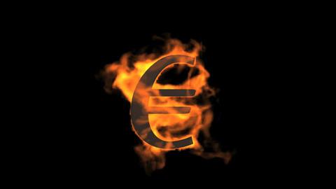 Euro symbol,fire Stock Video Footage