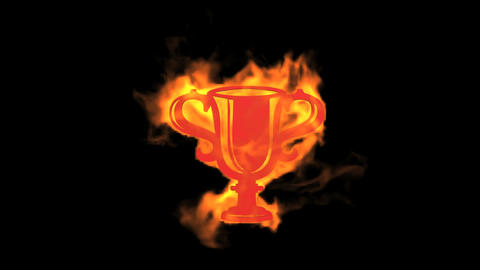 Flame prize cup symbol Stock Video Footage