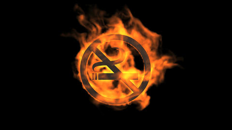 flame no smoking symbol Animation