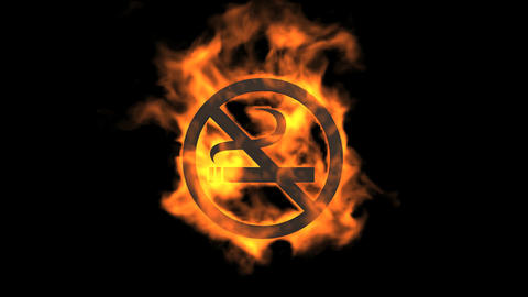 flame no smoking symbol Stock Video Footage