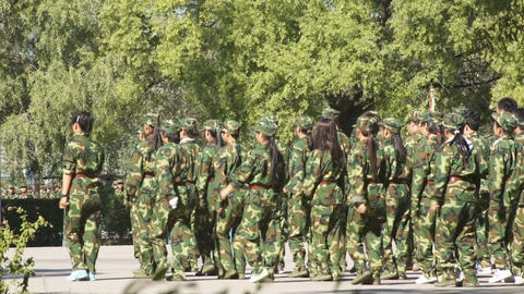 Students Military Marching stock footage