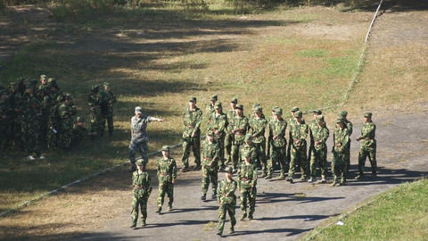 Students Military Marching (high Angle) stock footage