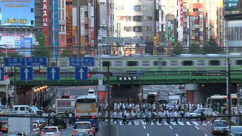 Shinjuku crossroad day 04 sound Stock Video Footage