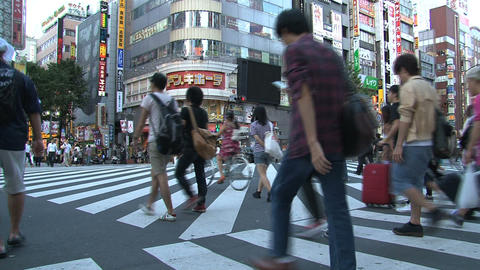Shinjuku crossroad people day 05 Stock Video Footage