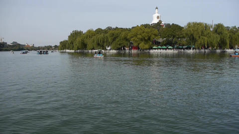 China Beijing ancient architecture Beihai Park white tower on willow island Footage