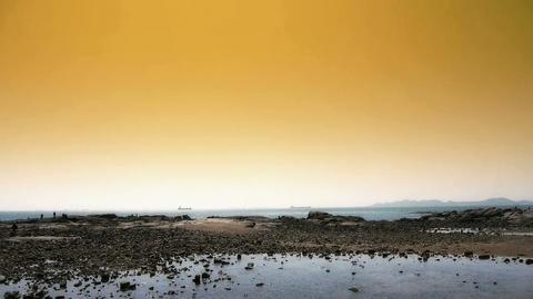 Panoramic of beach & reef Ebb,Sunset,dusk Stock Video Footage