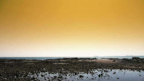 Panoramic of beach & reef Ebb,Sunset,dusk Footage