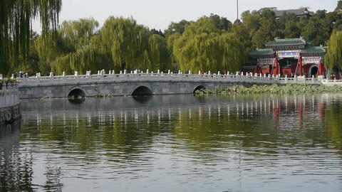China Beijing ancient architecture Beihai Park white bridge reflected in water Footage