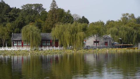 China Beijing ancient architecture Beihai Park... Stock Video Footage