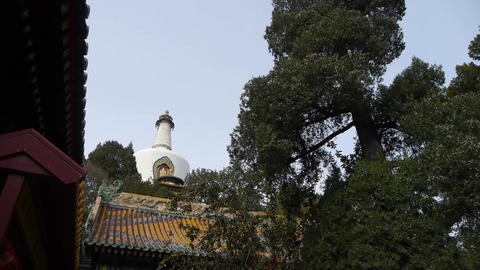 China ancient architecture White Tower in temple,Beijing... Stock Video Footage