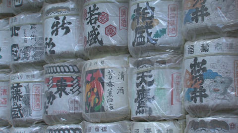 Sake barrels at Toshogu shrine Nikko 02 Stock Video Footage