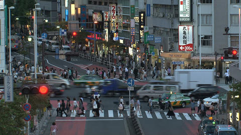 Shinjuku crossroad end day Stock Video Footage