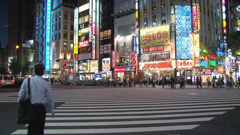 Shinjuku crossroad evening 02 Stock Video Footage